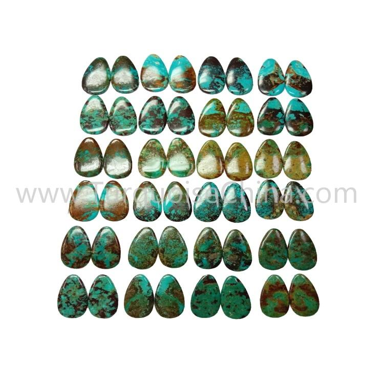 42x22x3.8mm Wonderful Turquoise Pear Cabochon  Pairs