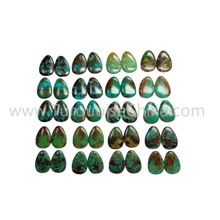 35.7x18.7x3.8mm Genuine Turquoise Pear Cabochon Pairs For Earrings