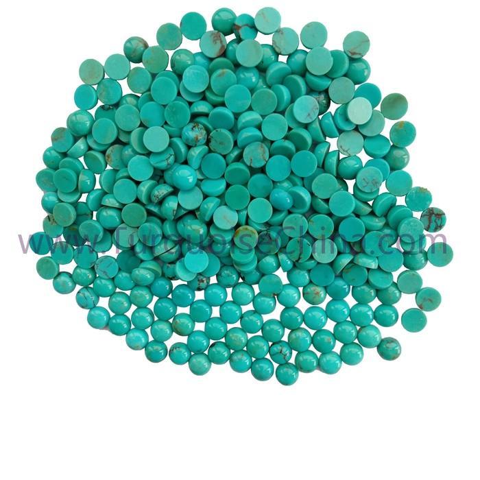 Genuine Turquoise 6x3mm Round Cabochon Gemstone