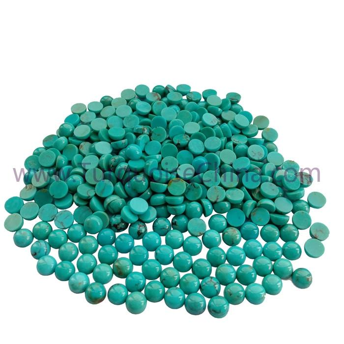 Genuine Turquoise 6x3mm Round Cabochon Gemstone