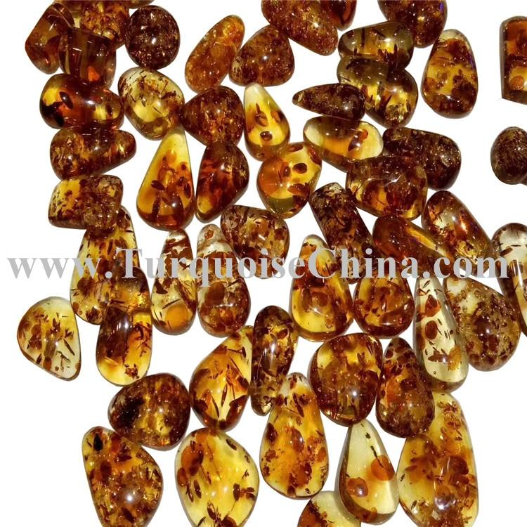 Pretty Natural Amber beeswax cabochon water Drop shape Yellow gemstone jewelry