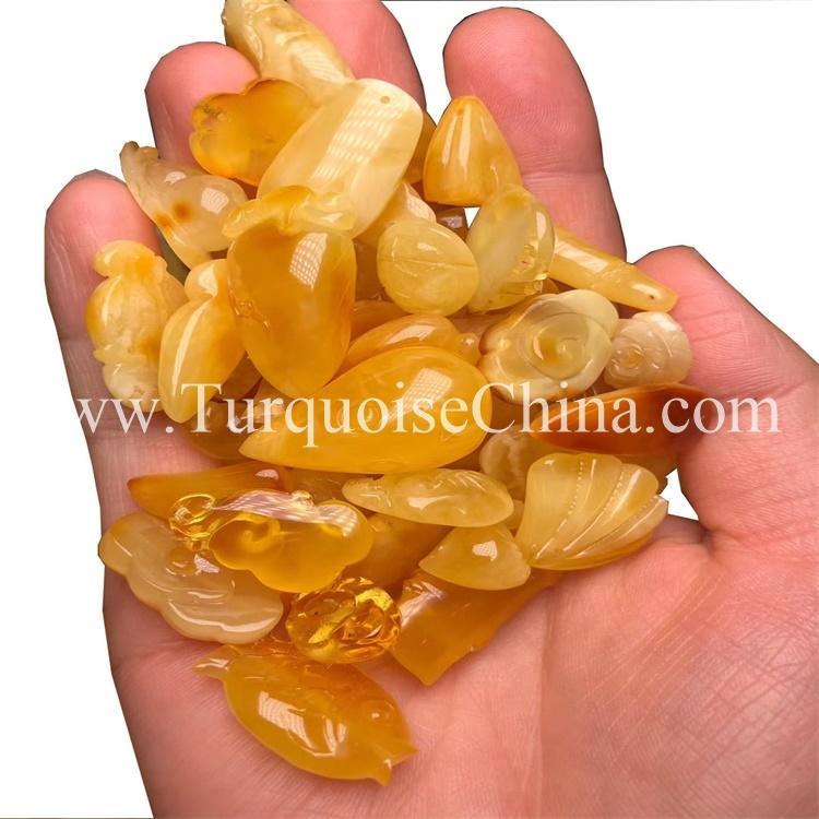 Natural Yellow Amber Carving Multishaped Beautiful Gemstone