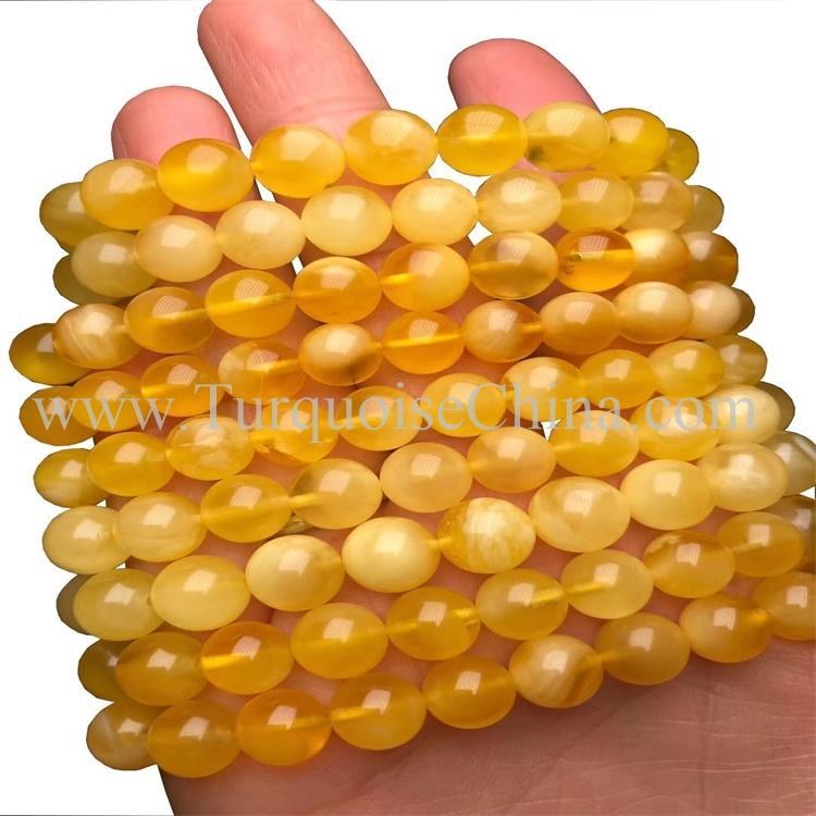 Dazzling Yellow Amber Gemstone Round Beads Bracelet