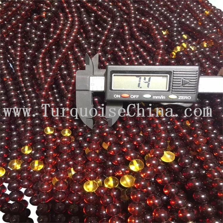 7mm Round Natural Beads Wine Red Blood Amber Gemstone Strand