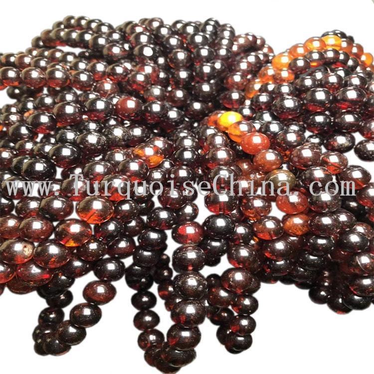 10mm Round Natural Beads Wine Red Blood Amber Gemstone Strand