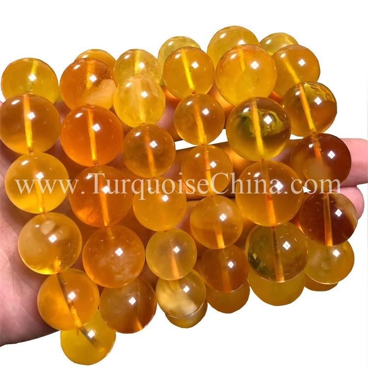 Natural Bright Yellow Amber Gemstone Conglobate Bracelet
