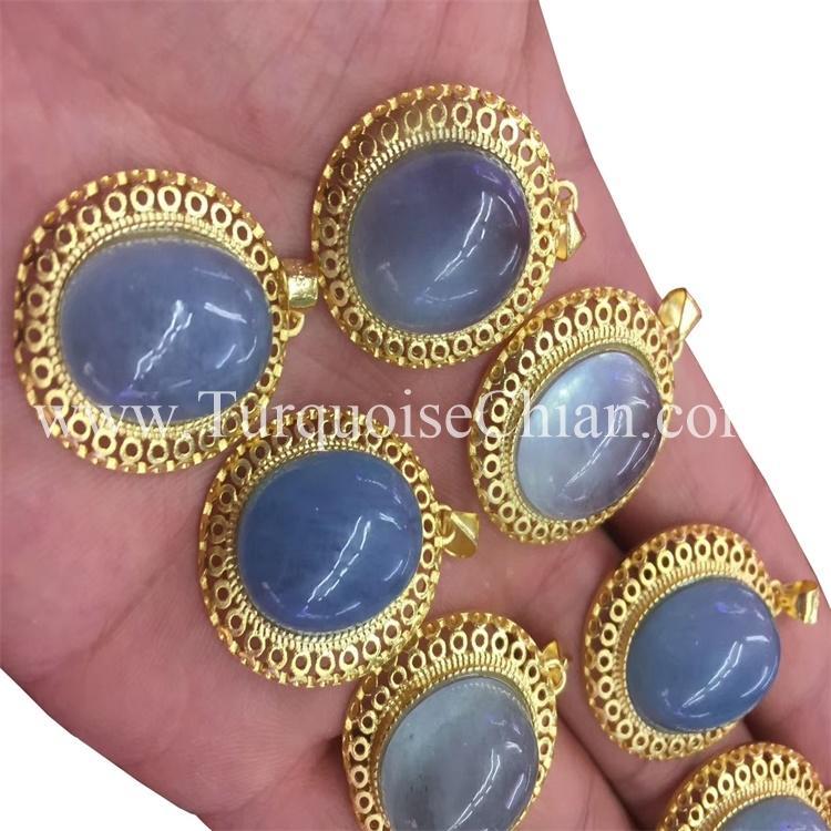 Natural Moonstone Blue Light Crystal Women Pendant