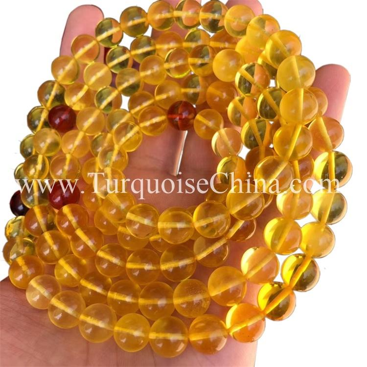 Amber Ball Gemstone Cute Glassy Yellow Beads Bracelet