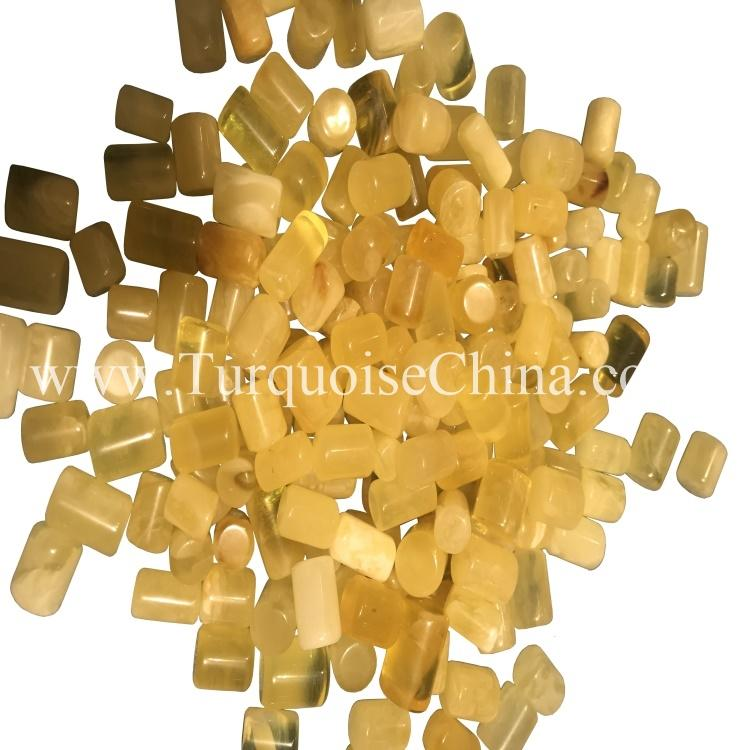 Natural Yellow Amber Tube Beads Candle Shape Pendant Oblate