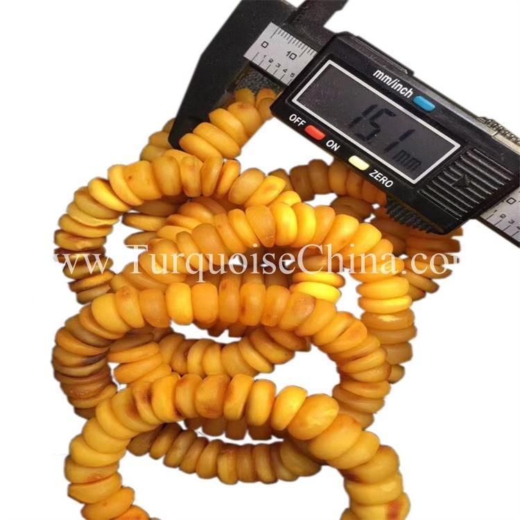 Lovely Yellow Amber Gemstone Oblate Beads Bracelet