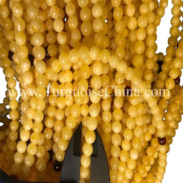 7mm Amber Circular Beads Vintage Yellow Beads