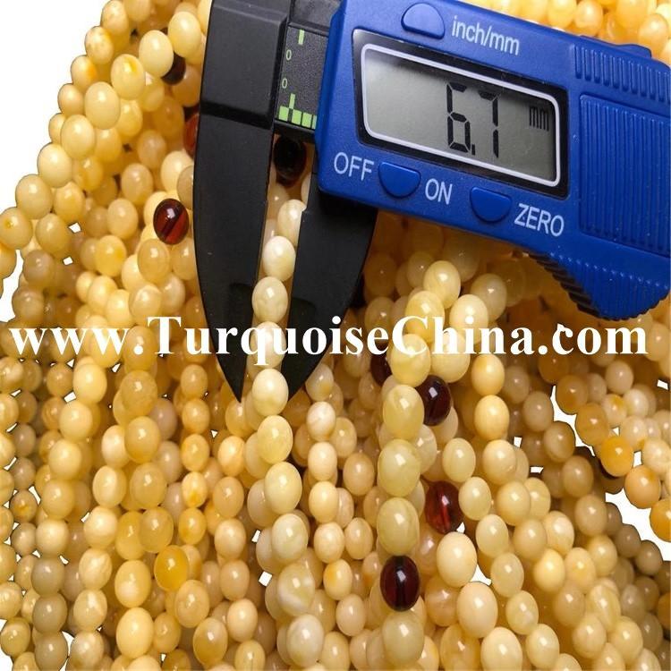 6mm Natural Amber Egg Yolk Butterscotch Necklace