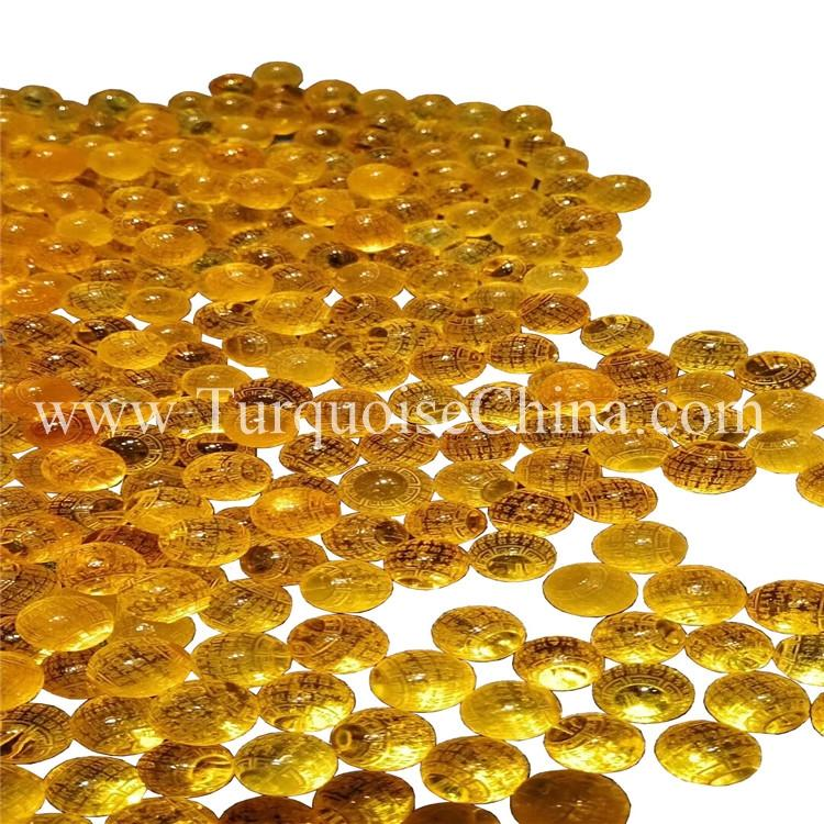Exquisite Yellow Amber Round Pearls Carving Circular Carved