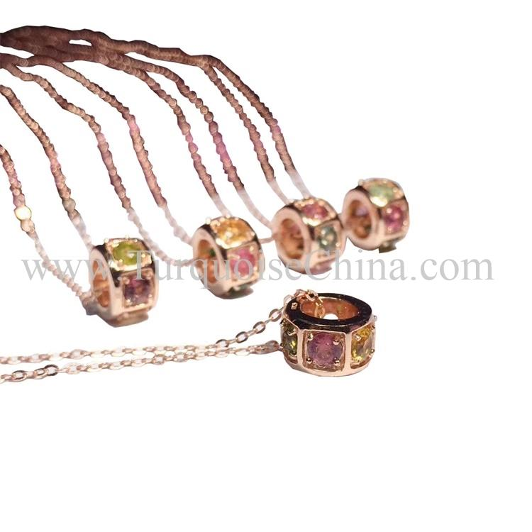 Natural Colorful Pendant Ring Shape Tourmaline Necklace