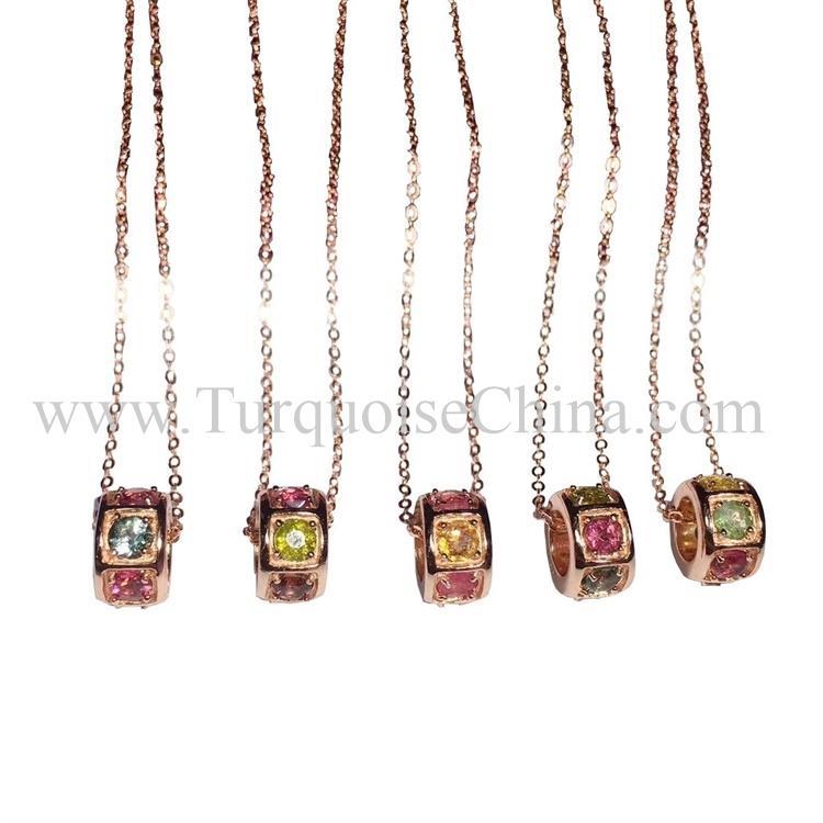 Natural Colorful Pendant Ring Shape Tourmaline Necklace