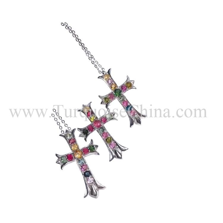 Genuine Nice-looking Pendant Cruciform Multi-colored Tourmaline Necklace for hanging out