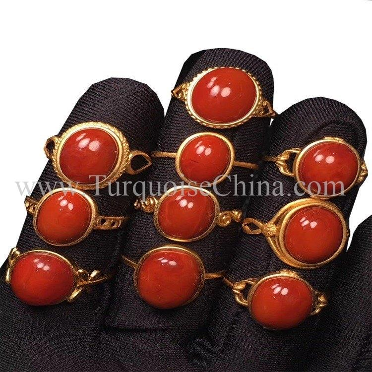 Elegant Natural Ring Jewelry South Red Cabochon Ring