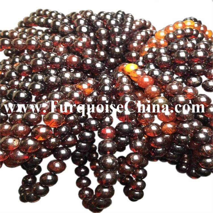 10mm Lovely Looking Art Deco Natural Cherry Amber Gemstone Strand