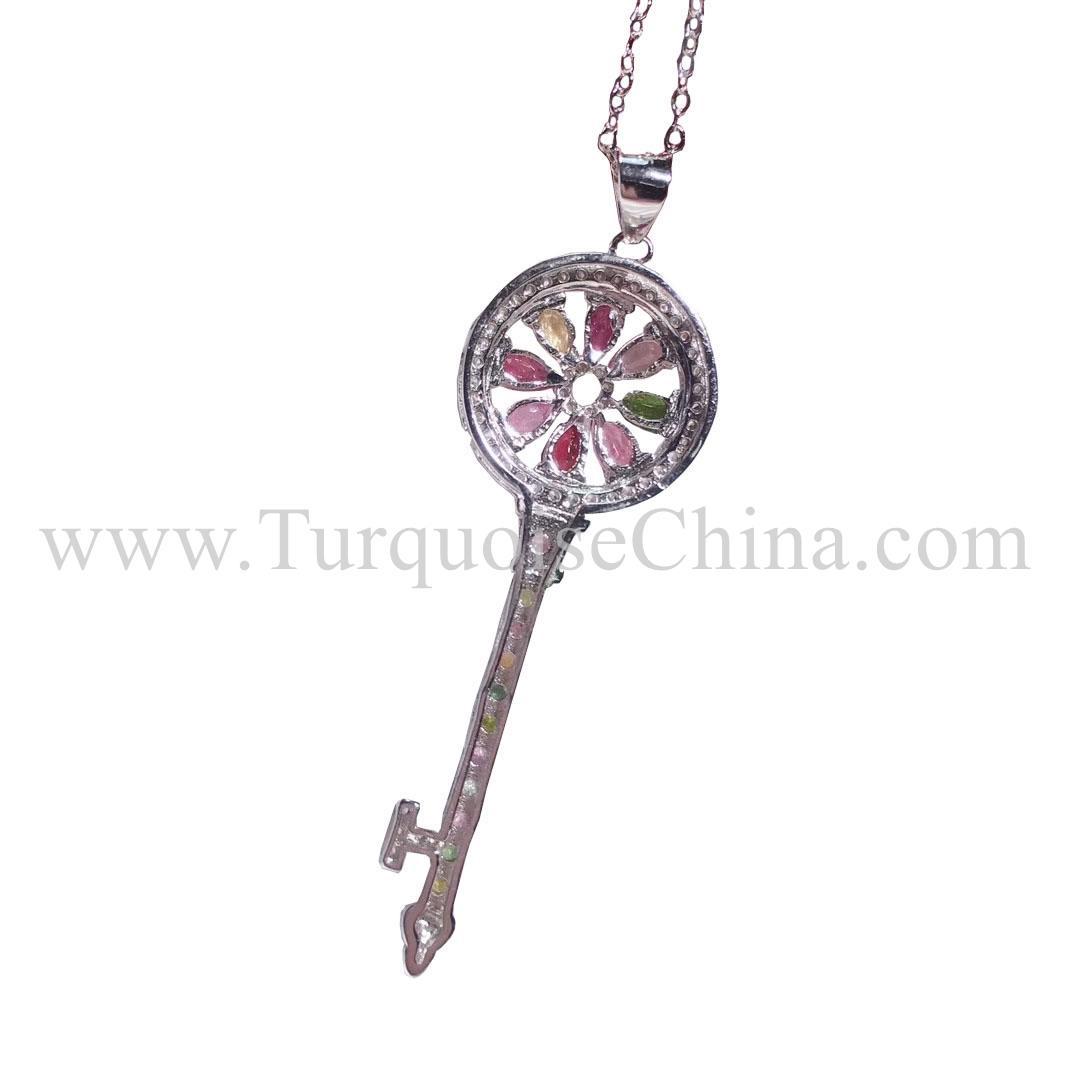 Hot-sale Classical Tourmaline Necklace Key Shape Pendant For Men And Women