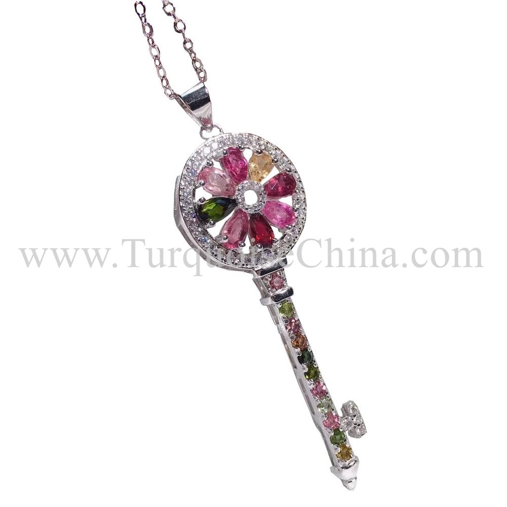 Hot-sale Classical Tourmaline Necklace Key Shape Pendant For Men And Women