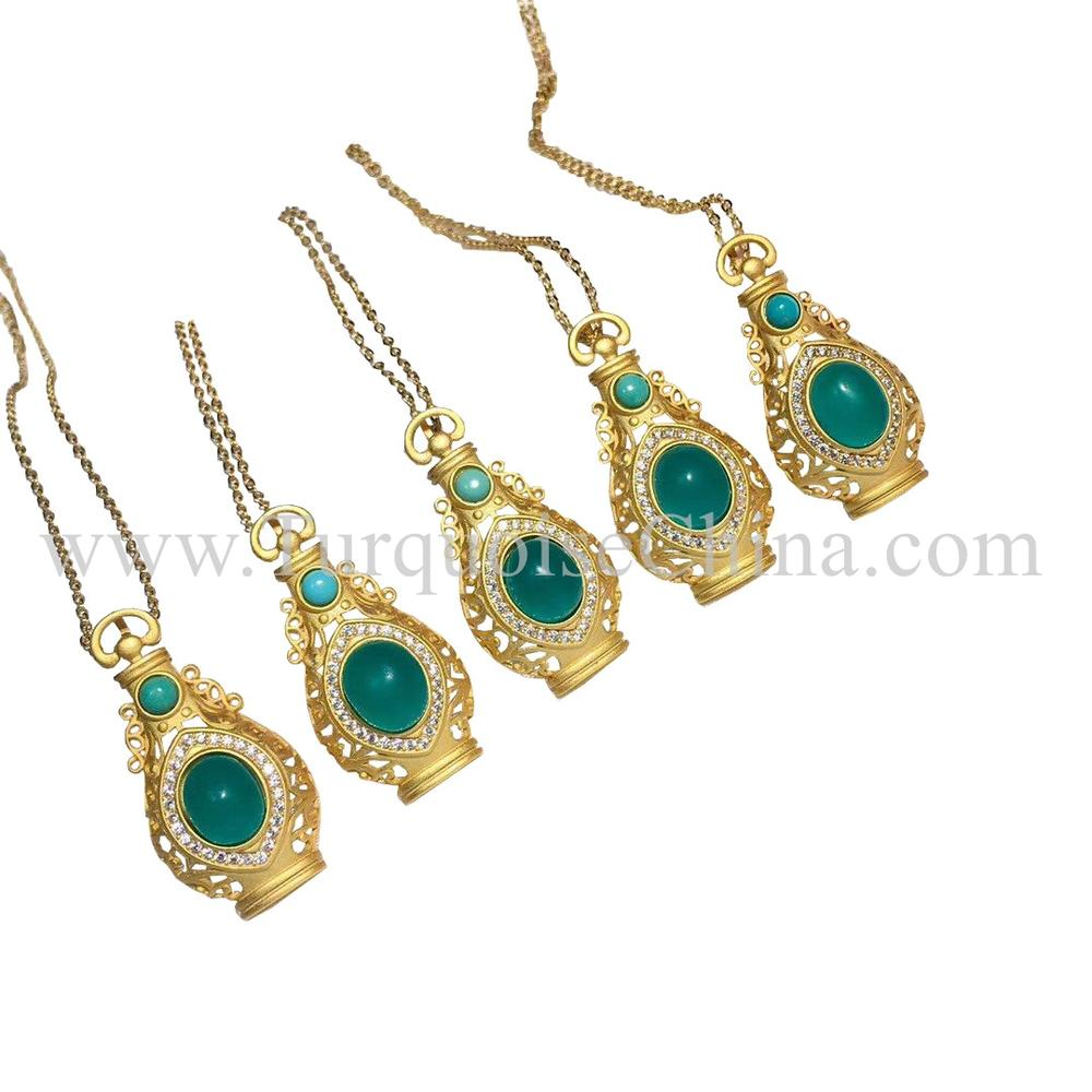Natural Beauteous Turquoise Pendant Urceolate Amazonite And Turquoise Necklace
