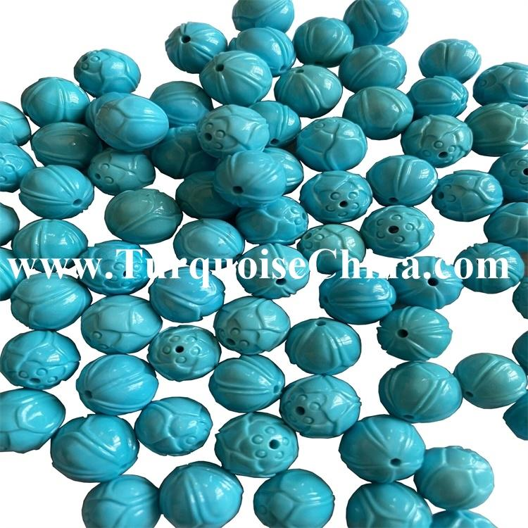 Wholesale ONE Vintage Carved Chinese Natural Old Turquoise Bead Round, Shou Rare!