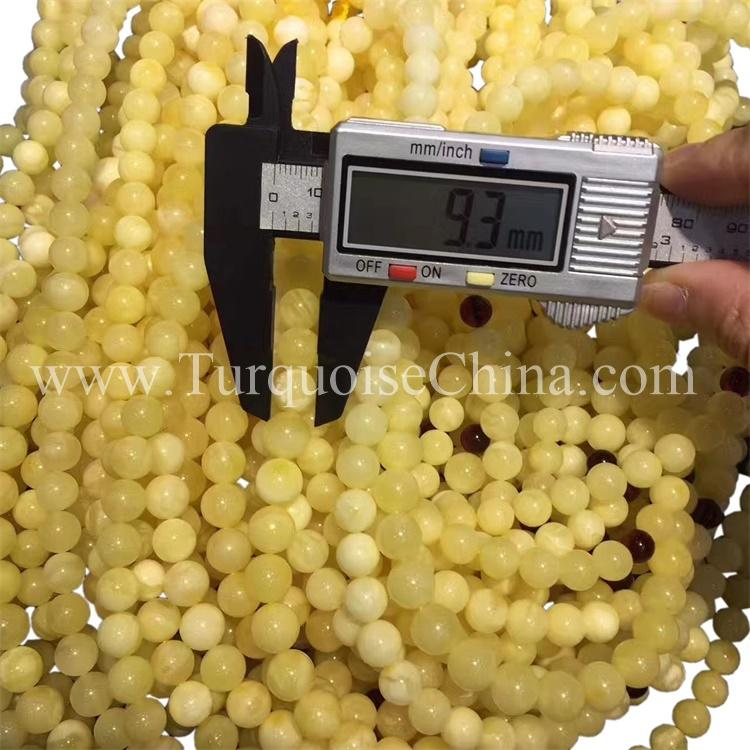 Hot-sale Beautiful Yellow Amber Beads Round Eye-catching Gemstone
