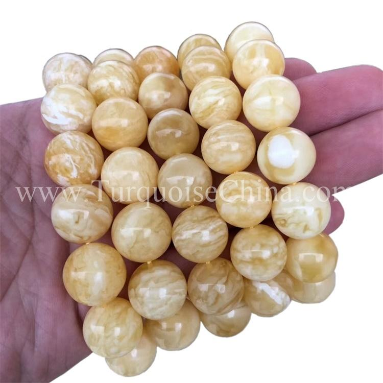 Synthetic Trendy Amber Bracelets Round Gemstone For Most Jewelry Lovers