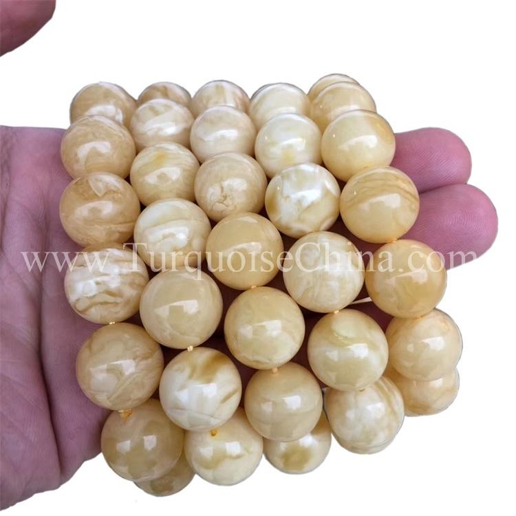 Hot-sale Exquisite Amber Gemstone Orbicular Yellow Besswax Bracelets
