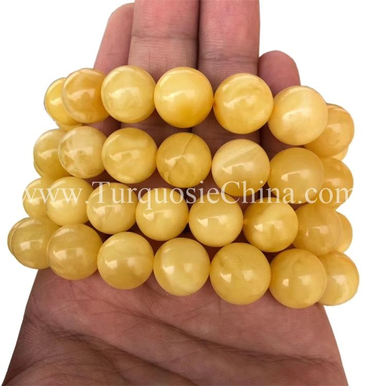 Genuine Yellow Amber Women Men  Beads Bracelet Certificate