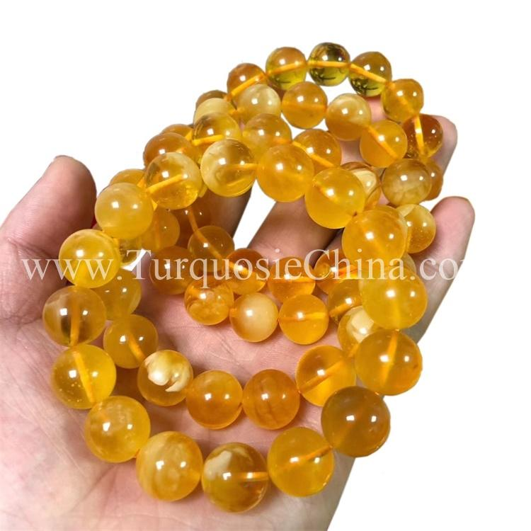Vintage Unique Amber Bracelet Ball Beads Rare Jewelry Handmade