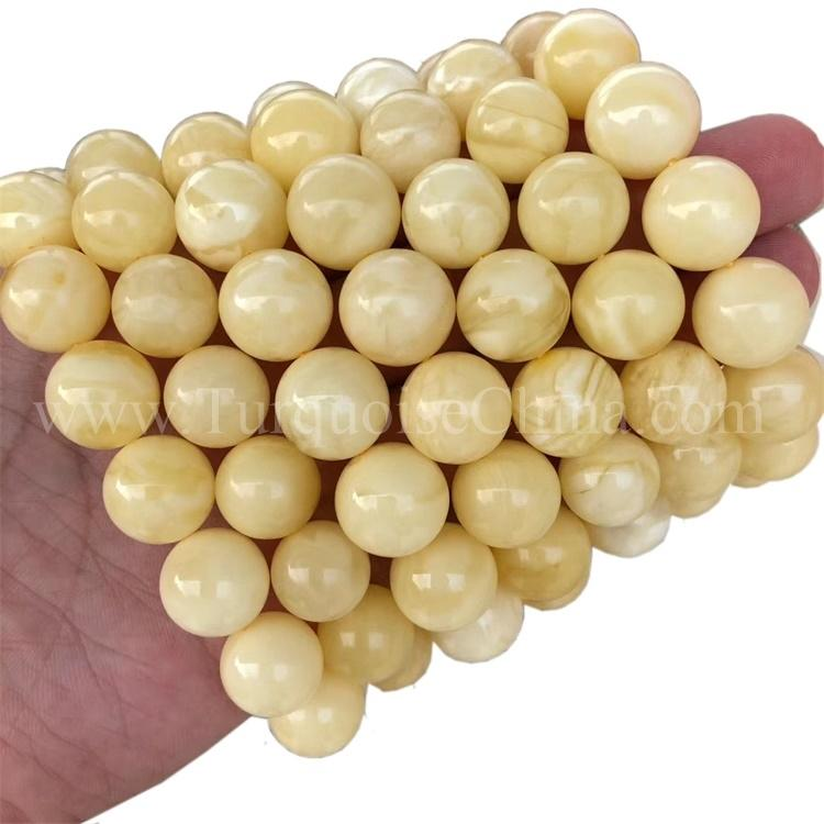 Lovely Slippy Amber Gemstone Round Beads Bracelet For Unusual Design