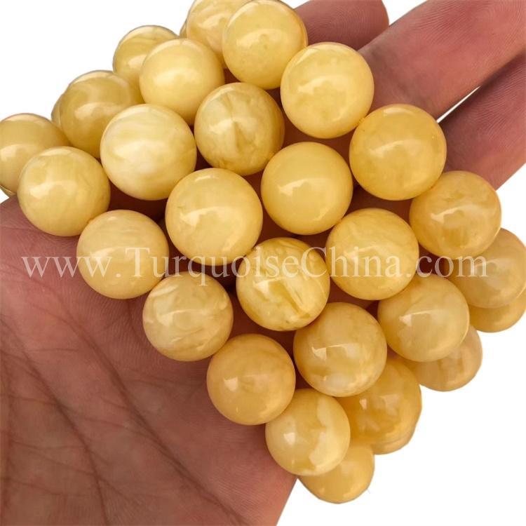 Genuine Natural Yellow Amber Gemstone Clear Beads Women Bracelet Certificate AA