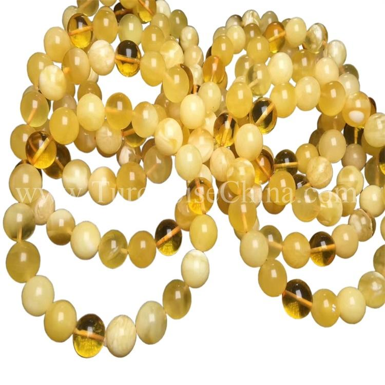 Exquisite Glossy Yellow Beeswax Bracelet Ball Amber For Nice Gift