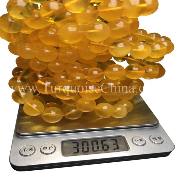 Stunning Beautiful Yellow Amber Round Beeswax Bracelet For Fancy Style