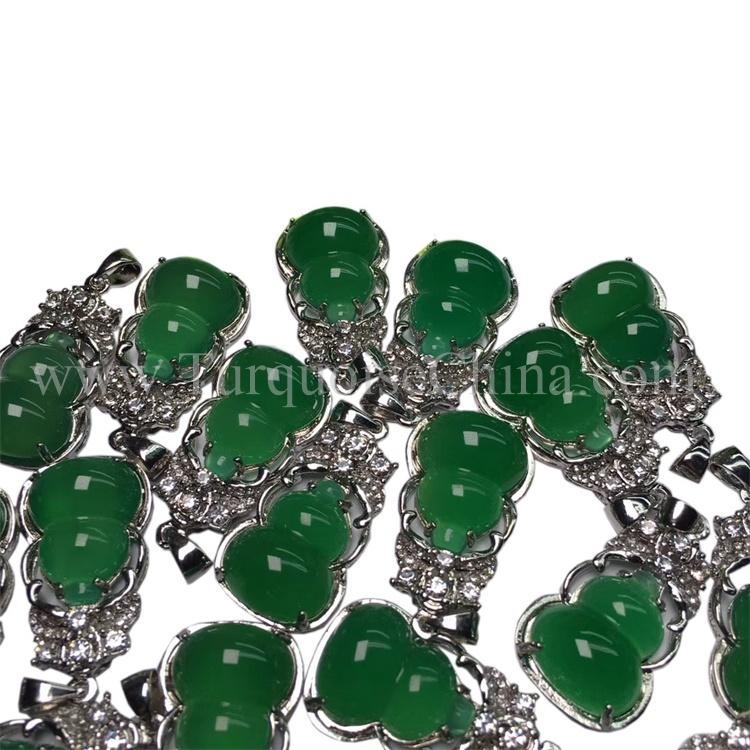 Unique Natural Chrysopase 925 Sterling Sliver Pnedant Green Leaf Jewelry