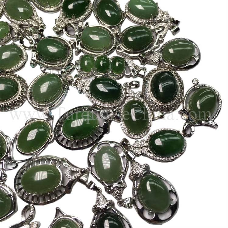 Exquisite Real Slippy Chrysoprase Green Cabochon Certificated For Hot-sale Pendant