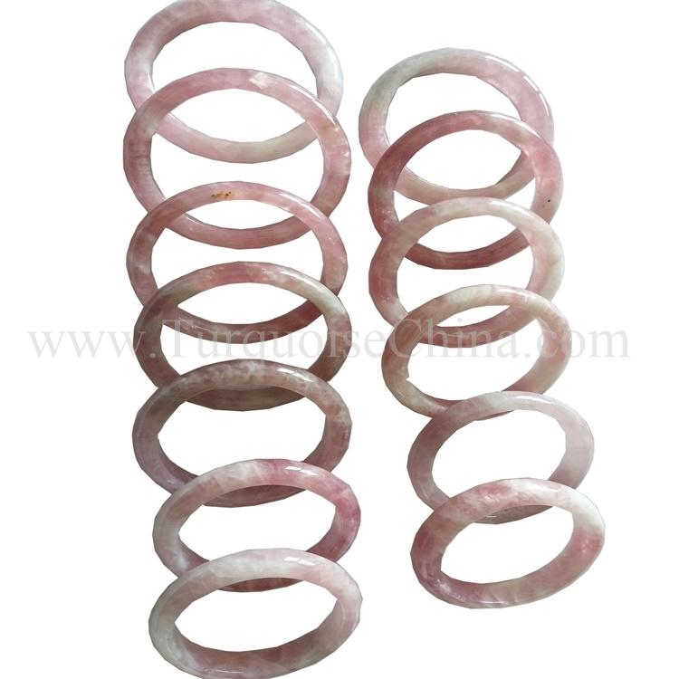 Genuine Natural Pink Crystal Woman Round Bangle Fashion Jewelry 15*8mm AA