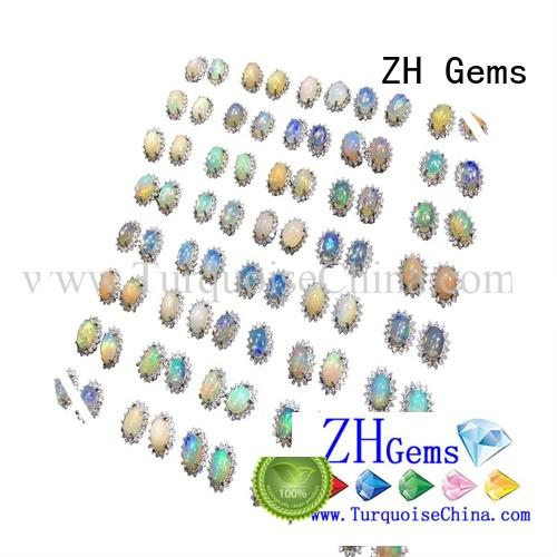 ZH Gems real turquoise earrings supply for jewelry store