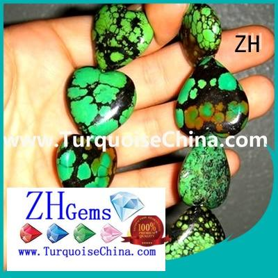 ZH turquoise heart beads professional supplier for necklace