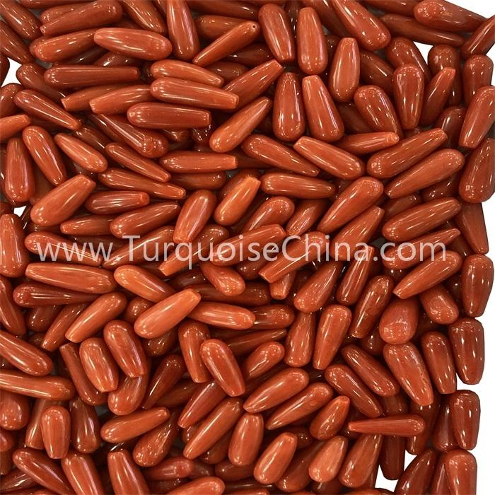 Hot-sale Natural Red Coral Rice Loose Gemstone Beads  For Jewelry