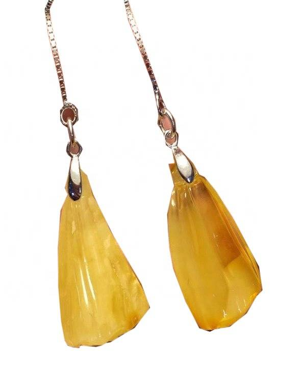 Unique Design Amber Earrings Gemstone