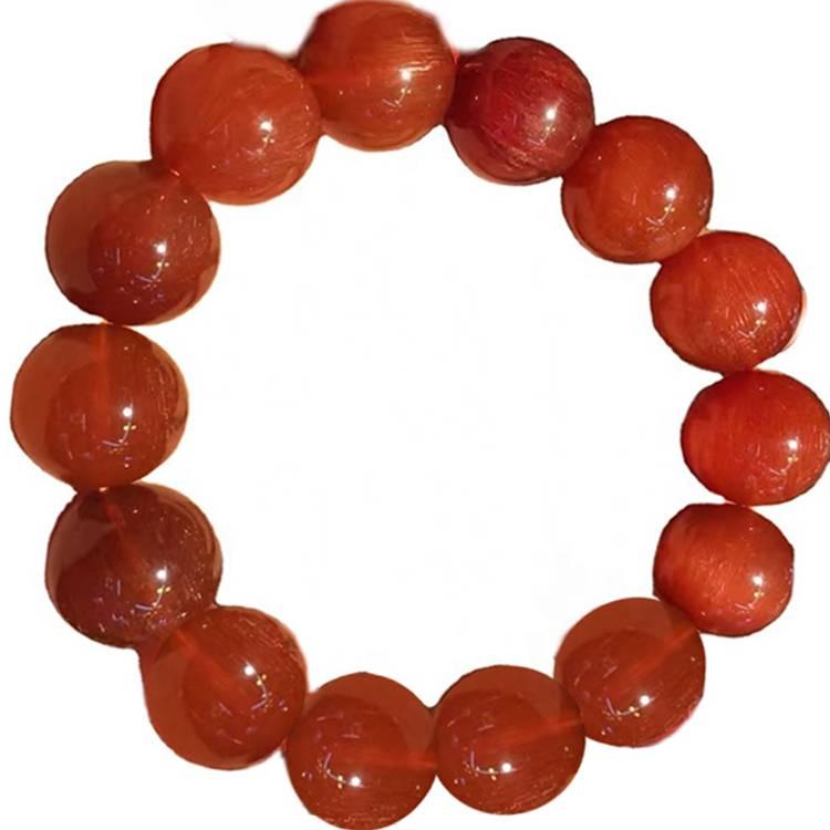 Red Rutilated Quartz crystal beads bracelets make wholesale