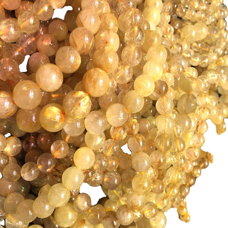 High quality natural factoed cutting Golden Rutilated Quartz round beads for jewelry making golden yellow Quartz