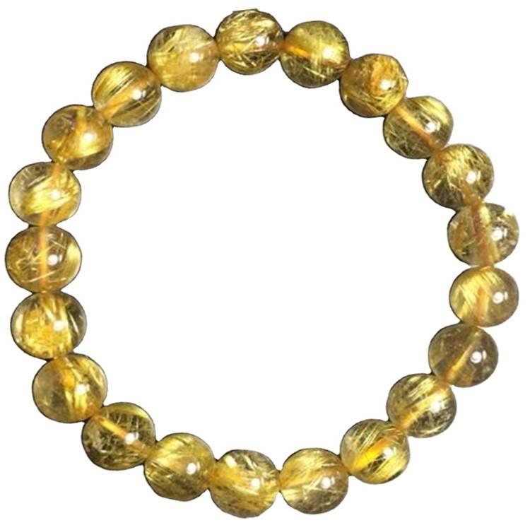 Hot Sale Natural Rutilated Quartz Crystal Bracelets Golden Rutilated Bracelet Crystal Energy Bracelet