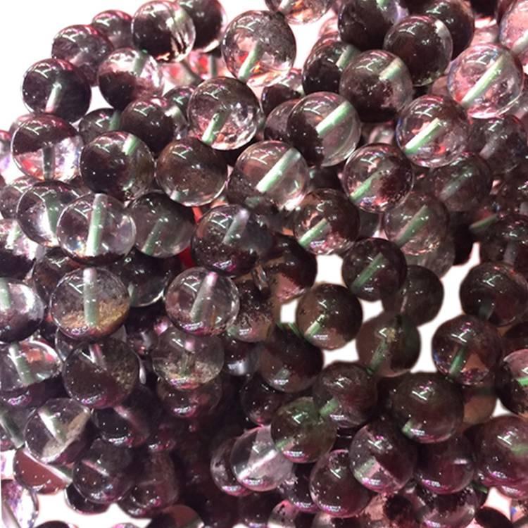 Natural red color phantom quartz crystal round beads bracelet
