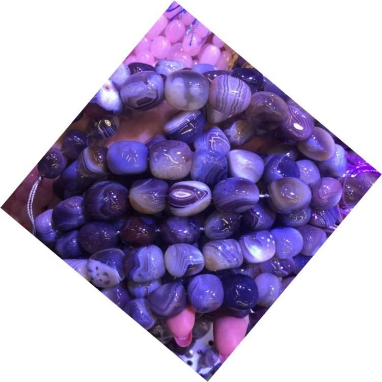 Hot-sale Natural   purple Zebra Stripe Agate Beads Gemstone Strings