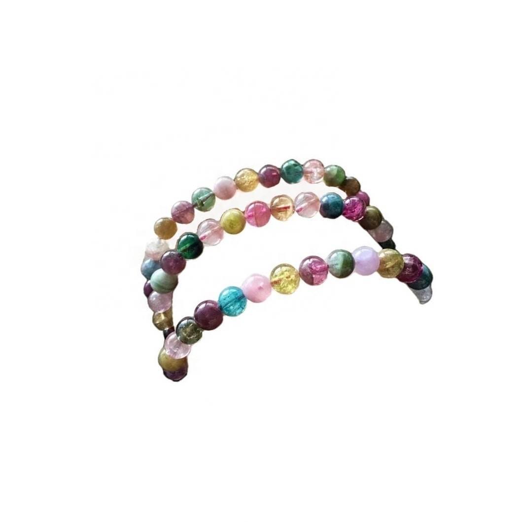 Multi Tourmaline Beads Smooth Round Loose Gemstone Beads