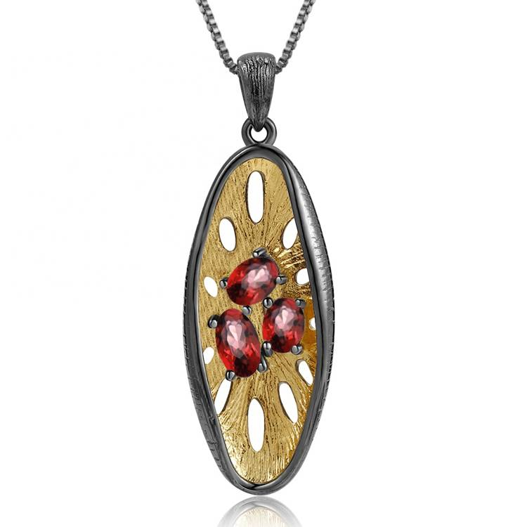 New 925 sterling silver natural ruby red pendant crystal jewelry for gemstone gifts