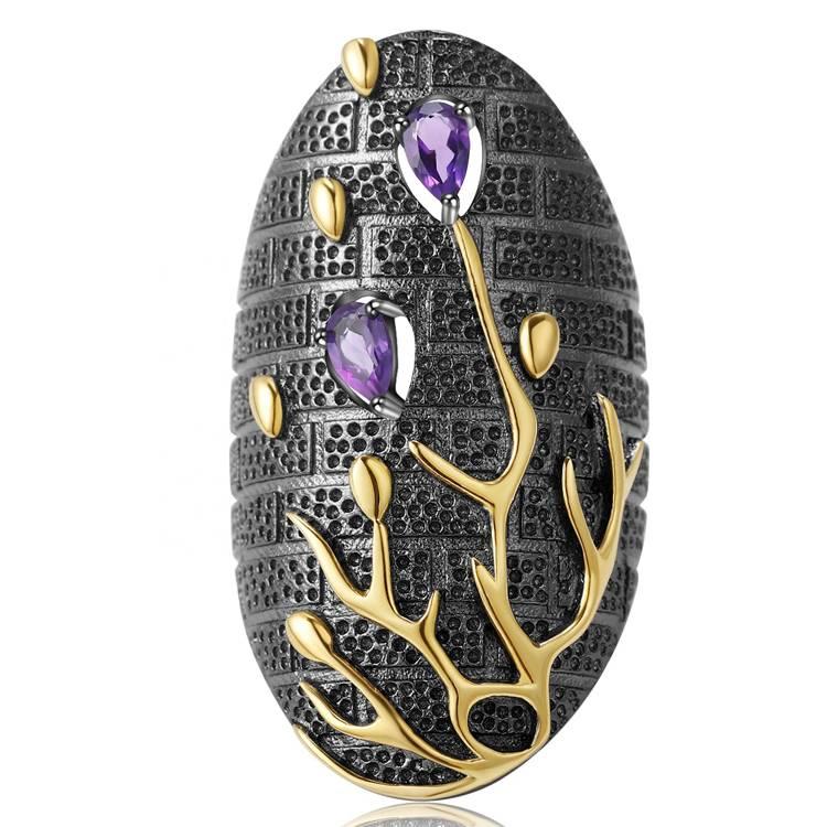 Gilded amethyst rings